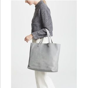 Madewell Gray Leather Transport Tote Bag